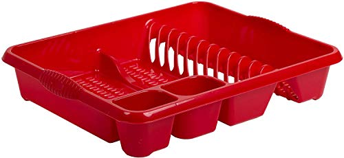 Plastic Dish Drainer Cutlery Holder Organizer Kitchen Sink Plate Tidy Caddy (Red Chilli)