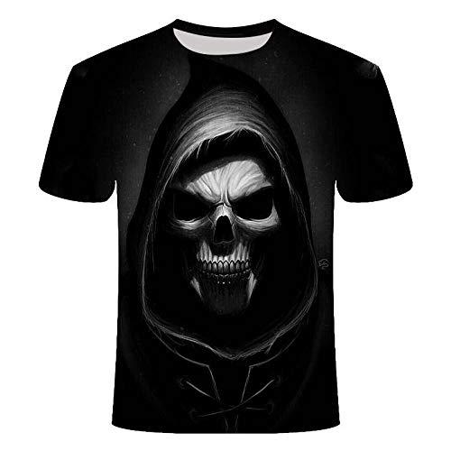 Camiseta 3D Hombres Calavera Casual Manga Corta Marea-T1393_XL