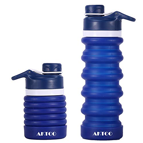 BPA Free Collapsible Silicone Water Bottle Leak Proof Sports Bottles Portable Foldable Reusable Retractable Coffee Cup for Traveling,Camping,Hiking,Running,Walking,20oz
