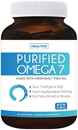 Purified Omega 7 Oil - Provinal Omega 7 (Non-GMO) All The Palmitoleic Acid EE Your Body Needs – Made from Peruvian Anchovy Fish - High Potency One Month Supply - 30 Softgels