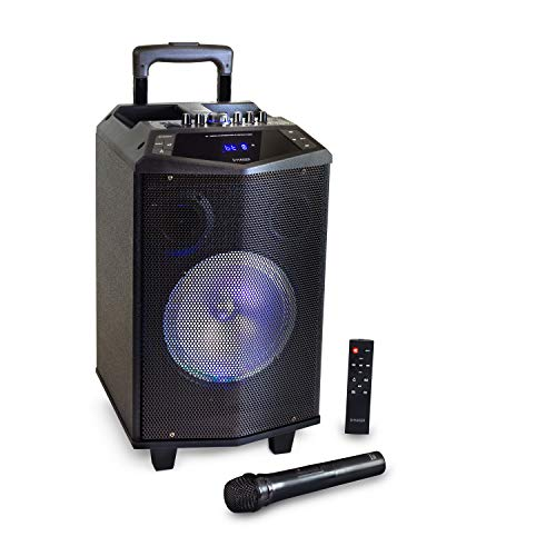 HAISER HSR 131 BT | Mobiler-Party-Lautsprecher mit • Akku • Mikrofon • Bluetooth • USB • Micro SD • MP3 • Radio • Fernbedienung | Musik-Box-Anlage Karaoke-System Trolley mit leistungsstarkem Bass BT