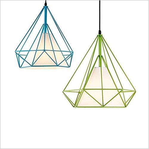 Suspensions Rétro fer diamant pendentif éclairage créative personnalité restaurant lampes magasin de vêtements unique fer lustres industriels lampes pendantes (diamètre 38cm), black