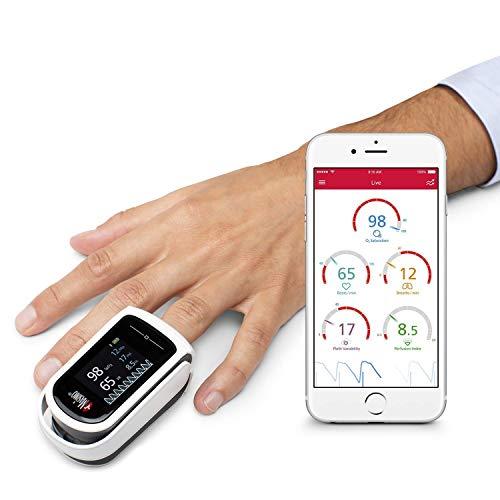 Masimo MightySat - Digitales Finger-Pulsoximeter, zuverlässige Messung von Sauerstoffsättigung und Pulsfrequenz, Kontrolle der Atemwerte, kompatibel mit Bluetooth, iOS und Android, weiß