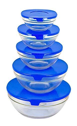 MEDIA WAVE store Set 5 contenitori in vetro impilabili cooking bowl per conservare alimenti adatto al microonde
