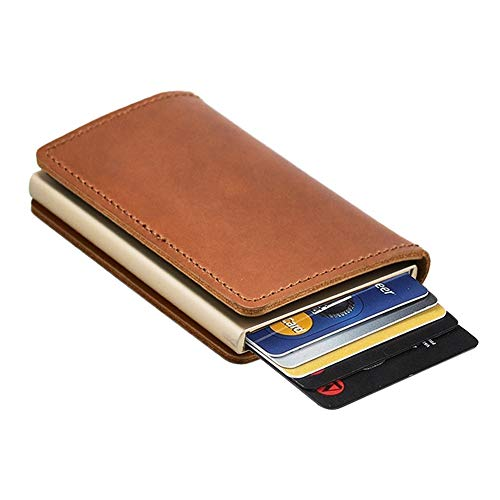 Dlife Credit Card Holder RFID Blocking Wallet Slim Wallet Cowhide Leather Vintage Aluminum Business Card Holder Automatic Pop-up Card Case Wallet Security Travel Wallet (Brown Case)