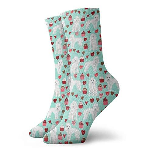 Colin-Design Sportsocken mit Pudel-Motiv, weiß, für Valentinstag, Cupcakes, H&erassen, Minze, 30 cm, Crew-Socken für Männer & Frauen