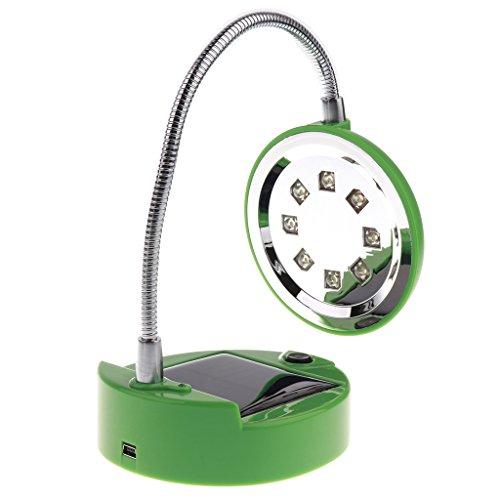 B Blesiya Lámpara solar de escritorio flexible con 8 ledes, 2 tipos de carga: funciona con energía solar, cargador USB, color verde