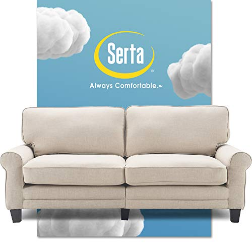 Serta Copenhagen Sofa Couch for Two People, Pillowed Back Cushions and Rounded Arms, Durable Modern Upholstered Fabric, 78', Buttercream