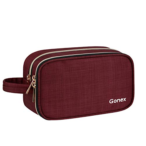 Gonex Travel Makeup Bag for Women with Mirror, Makeup Pouch Cosmetic Bag, Makeup Brush Bags Travel Kit Organizer with Handle Strap (Wine)