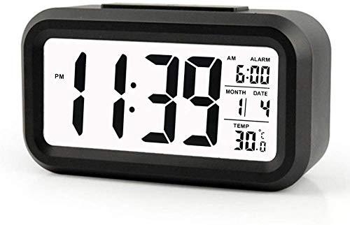 AOI Réveil numérique sans Fil à Piles avec Date, température, capteur Lumineux Intelligent, 12/24 Heures, répétition pour Les Chambres, Le Bureau 5,31 x 2,95 x 1,77 Pouces (Noir)