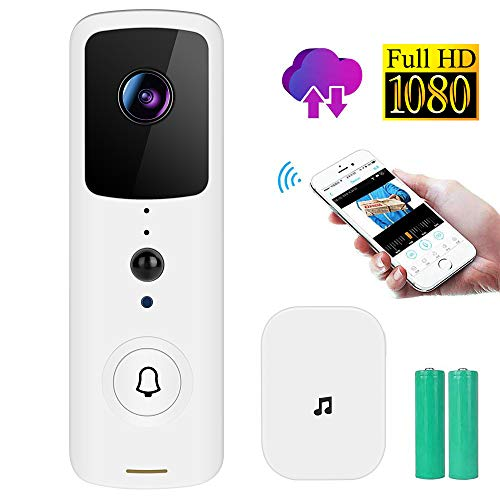 Wireless WiFi Video Doorbell 1080P HD Camera with Chime and Real-Time Two-Way Talk, Night Vision, PIR Motion Detection