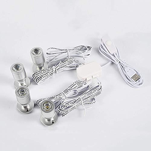 FACAZ Foco LED 5V USB Mini Bombilla, 360 & ordm;Luz de exhibición de mostrador LED portátil Regulable giratoria alimentada por USB para Vitrina de joyería, gabinete de Vino, luz cálida, 4 Luces