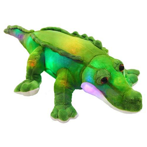 Bstaofy LED Crocodile Stuffed Animal Light Up Plush Toy Realistic Jumbo Alligator Glow Soft Gift for Kids on Birthday Christmas Halloween, 18''