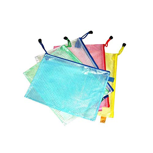 Jorzer Kunststoff-Wallets A4 Reißverschluss-mappen A4 Zip Wallet Reißverschluss-Beutel Ziplock Taschen Mesh-dokument Dateiordner Spielraum-Speicher-Beutel (Packung Mit 10)