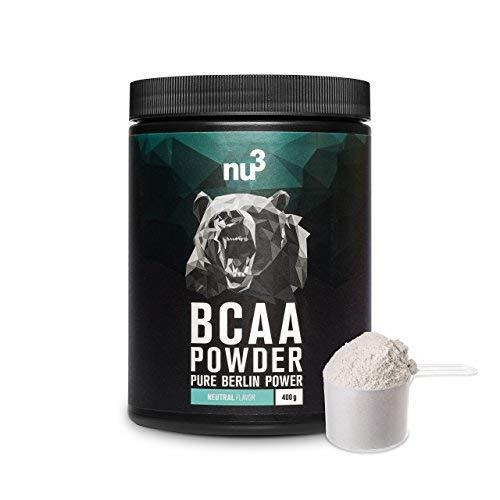 nu3 BCAA en polvo   400g powder sabor neutral   40 porciones de aminoácidos ramificados   Proporción óptima de leucina, isoleucina y valina en 2:1:1   Suplemento deportivo   Nutrición deportiva vegana