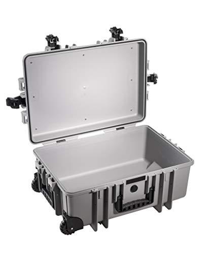 B&W Outdoor Case Hartschalenkoffer Typ 6700 leer (Hardcase Koffer IP67, ohne Inhalt, wasserdicht, Innenmaß 53,5x36x22,5cm, Grau)