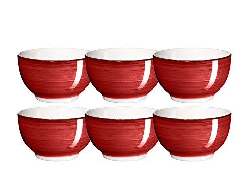 MÄSER Domestic by, Série Bel Tempo, Céramique Peinte à la Main Bol à céréales 14 cm, en Kit de 6, de Couleur Rouge