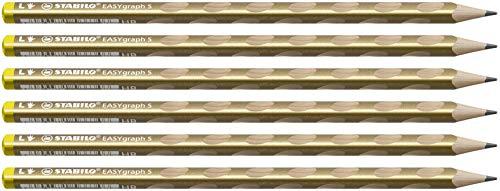 Stabilo Matita Ergonomica triangolare Sottile - STABILO EASYgraph S Metallic per Mancini in Oro - Confezione da 6 - Gradazione HB