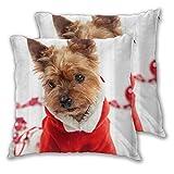 BROWCIN 2 Pack Funda de Almohada Yorkshire Terrier Disfrazado de Santa...