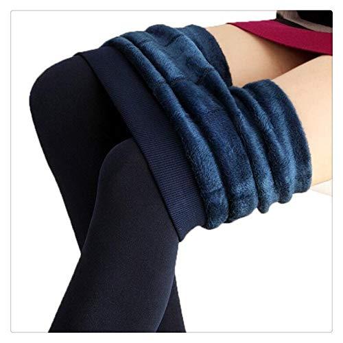 XBECO Trend Knitting - Mallas de invierno para mujer, de alta elasticidad, gruesas, cálidas, pantalones ajustados, para mujer, buena elasticidad (color azul marino K018, tamaño: talla única)