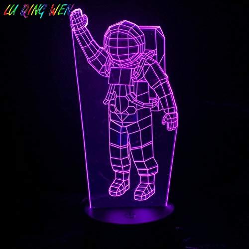 sanzangtang LED Nachtlicht 3D-Vision-Sieben-Farben-Fernbedienung-Astronaut Nachtlicht Skulptur Figur Dekoration Lampe Kind Kind Astronaut Schreibtischlampe Nacht AstronautWiegenlied Nachtlicht