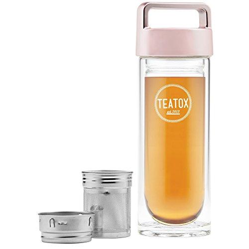 TEATOX Verre Thermo-Go Bottle 330ml - Bouteille isotherme double paroi - Infuseur Fruit thé - Infuseur à thé 2 en 1 (Roségold)