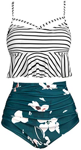 Gabrielle-Aug Women's Retro Two Pieces High Waisted Ruffle...