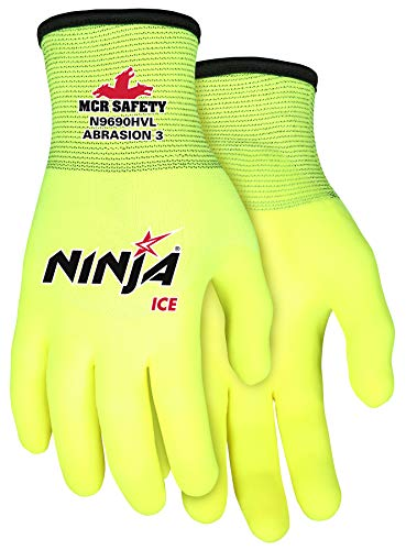 MCR Safety Ninja Ice Hi-Visibility 15 Gauge Nylon Insulated Cold Weather Gloves, Acrylic Terry Inner, 3/4 HPT Coating, Yellow, Large , 1-Pair
