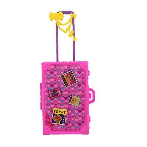 Caso del recorrido 1pc mini caja de plástico rosa Juguete Maleta 3d equipaje accesorios de la muñeca para la muñeca decoración de la casa (b)