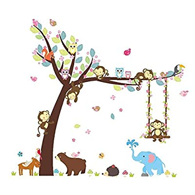 ElecMotive Cartoon Forest Animal Monkey Owls Fox Rabbits Hedgehog Tree Swing Nursery Wall Stickers Murals DIY Posters Vinyl Removable Art Wall Decals for Kids Girls Room Decoration