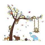 ElecMotive Cartoon Forest Animal Monkey Owls Hedgehog Tree Swing Nursery Stickers Murals DIY Posters Vinyl Removable Art Wall Decals for Kids Girls Room Decoration (Bear Elephant)