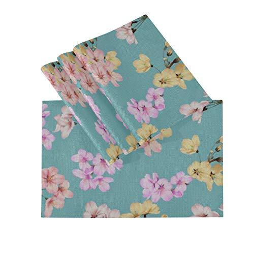 DUKAI Tischsets 4er-Set, wärmeisolierende waschbare Tischsets, nahtloses Blumenmuster Buntes Somei Yoshino 18 x 12 Zoll Küchentischmatten Tischset für Esstisch