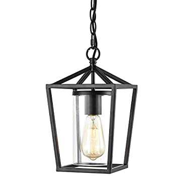 EUL Vintage Outdoor Pendant Light Fixture Island Hanging Lantern Light with Clear Glass Shade