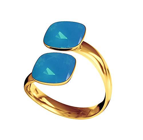 Beforya Paris – Anillo cuadrado de plata 925 – Caribbean Blue – Anillo de compromiso con elementos Swarovski® – Plata de ley 925/chapado en oro 24 K – Anillo de mujer tamaño ajustable