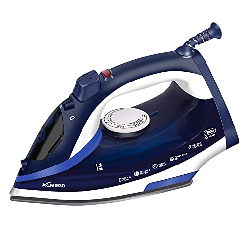 AEMEGO Steam Iron for Clothes Lightweight Portable Iron with Non Stick Ceramic Soleplate Anti Drip Vertical Irons for Ironing Clothes Self-Clean Auto-Off Function Small Size for Home Travel…