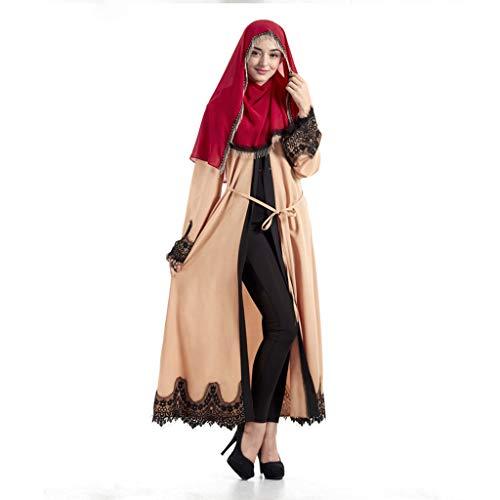 Theshy Retro Kleid Damen Kleider Langarm Knielang Bekleidung Midikleid Mantel Blusen Robe Elegante Muslimische Abaya Strickjacke TüRkische Hijab Islamische Gebetskleidung