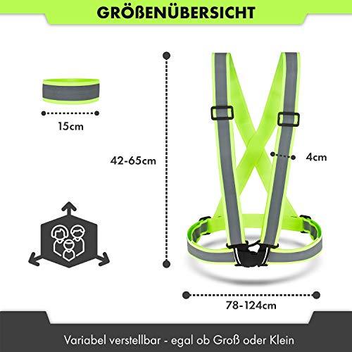 CBL LUXURY Reflektorweste [8er Set] Bestehend aus Fahrrad Warnweste, Armband und Netztasche Premium Reflective Vest in Zwei - 7