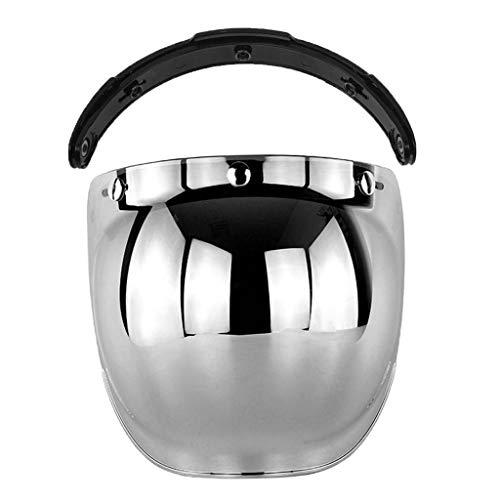 Shiwaki 3-Snap Bubble Shield Visor Flip Up Wind Shield lente Universal accesorios para casco de motocicleta de calle - De plata