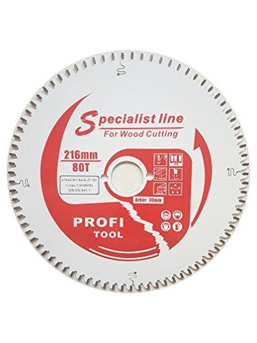 profi-tool-germany HM-Sägeblatt 216 x 2,4 x 30 Z= 80 WZ Feinschnitt negativ mit Antihaft Beschichtung