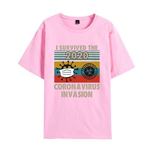 ISURVIVED THECORONAVIRUSINVASION New Crown Virus Survival T-shirt à manches courtes Couleur : AN-03 Taille : XL