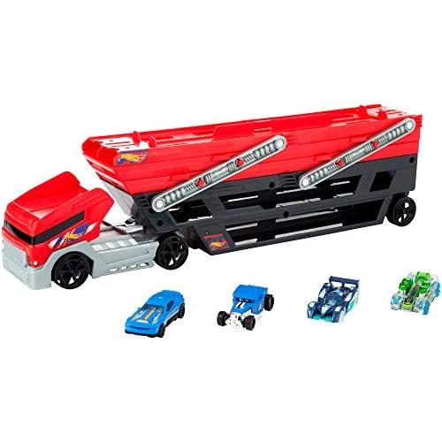 Hot Wheels Mega Trasportatore con Rimorchio, Playset con 6 Livelli Espandibili e 4 Macchinine Incluse, FPM81
