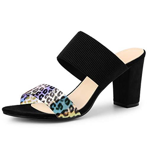 Allegra K Women's Elastic Straps Block Heels Black Slide Heel Sandals 8.5 M US