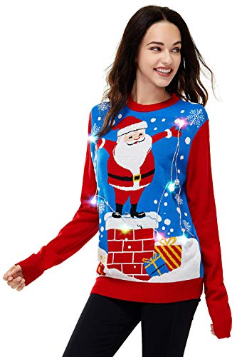 U LOOK UGLY TODAY Long Sleeve Jumper Suéter pulóver, Santa Holding The Led Lights, XXL para Mujer
