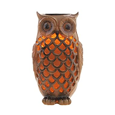 Solar Powered Owl Light Decoration- Ultra Durable Polyresin- Highest Capacity Battery- Intricate Detailing- Wireless Outdoor Accent Lighting- Best Decor Ornament for Garden/Patio/Yard (Bronze Brown)