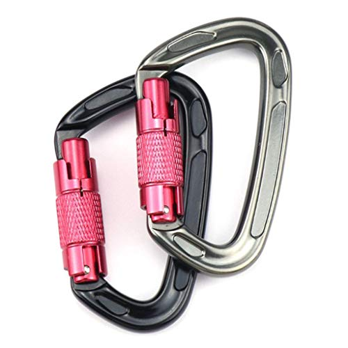 F Fityle 2Pcs 24KN Durable Twistlock Aluminium D Ring Karabiner Clips Haken Zum Klettern, Camping, Angeln, Wandern, Reisen Black & Grey