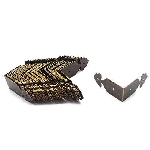 Tulead Decorative Hardware Box Corner Protectors Iron Edge Guard 1.6'x1.6'x0.7',Bronze,50PCS with Mounting Screws
