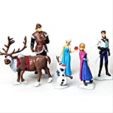 Yangzou Frozen Character Toy 6-10 Cm, Cute Realistic Doll Creative Family Car Car Decoration Sculpture Doll Child Birthday Gift (6 Pcs / 1 Set)