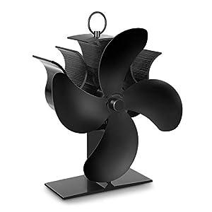 Ventilador de Estufa PAIPU, Ventilador de Chimenea con Termómetro, Funcionamiento silencioso automático, Para Estufas, Estufas de Leña y Chimeneas