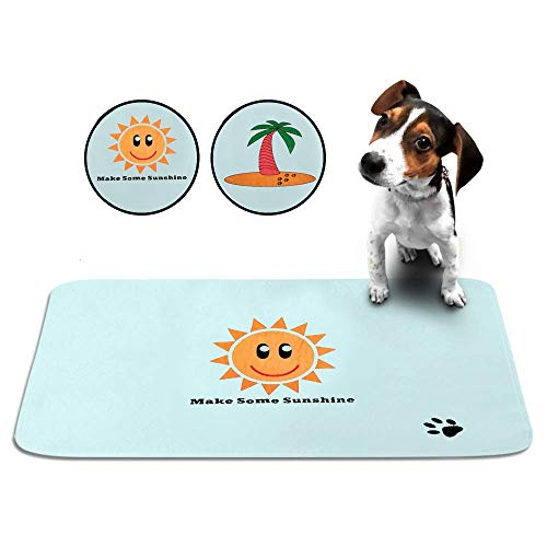 Cute Washable Puppy Pee Pads | 2 Pack Sun, Palm Tree Designs | Large Super Absorbent Wee Wee Potty Mats | Dog Housebreaking, Pet Crate Training | Multi-Purpose Reusable Eco-Friendly | Whelping