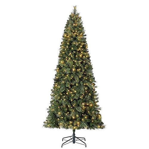 Home Heritage 9 Foot Cascade Cashmere Quick Set Christmas Tree with Changing White and Colorful LED Lights